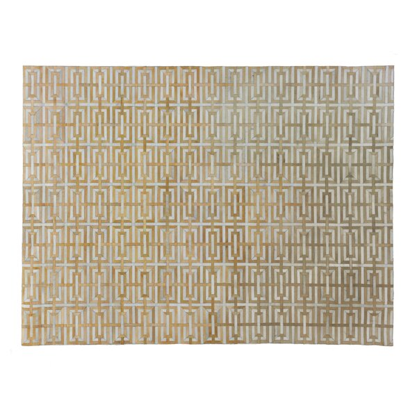 Natural Hand-Woven Cowhide Beige Area Rug by Exquisite Rugs