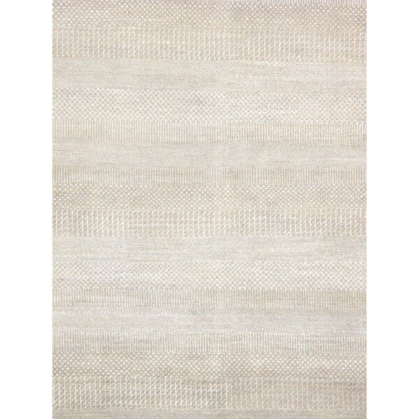 Transitional Hand-Knotted Rayon from Bamboo Silk and Wool Beige Area Rug by Pasargad