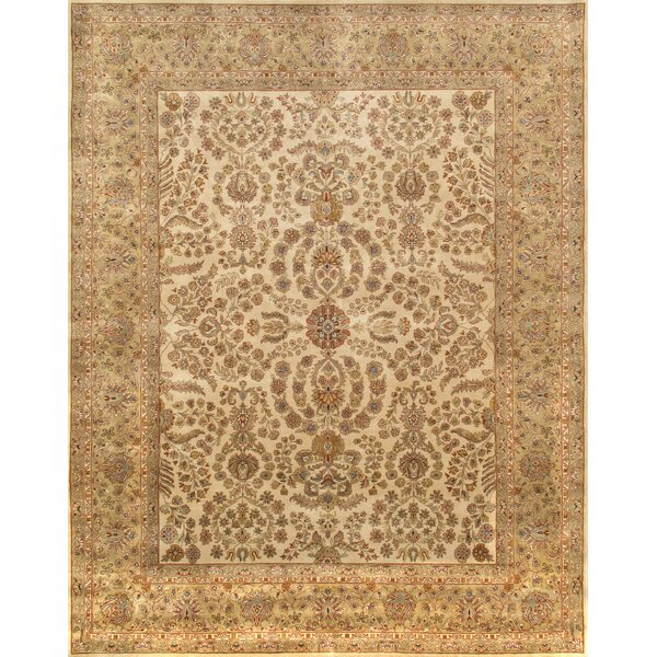 Tabriz Hand-Knotted Wool Ivory Area Rug by Pasargad