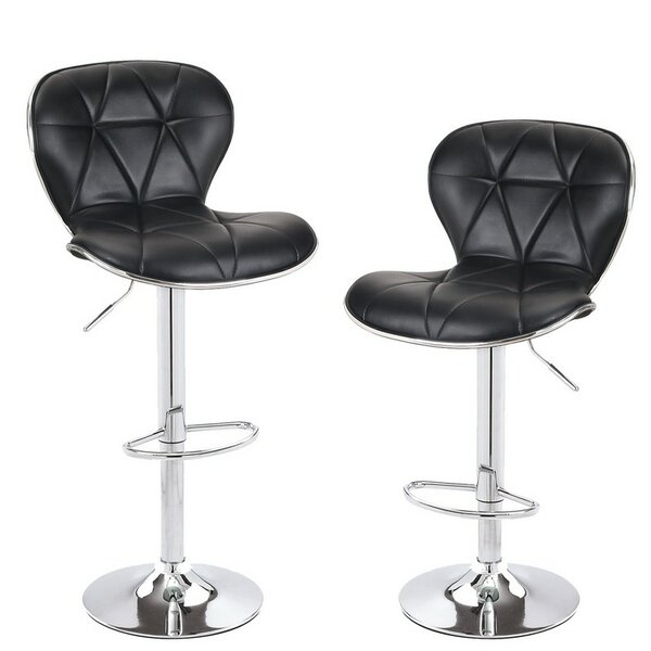 Adjustable Height Swivel Bar Stool (Set of 2) by Adeco Trading