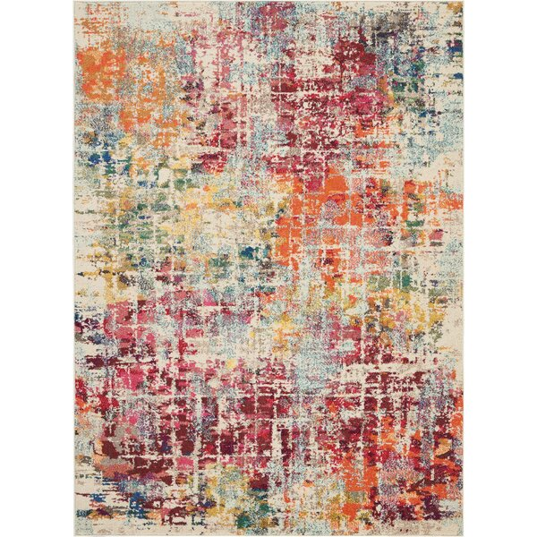 Allegro Bohemian Abstract Ivory/Pink Area Rug by Ivy Bronx
