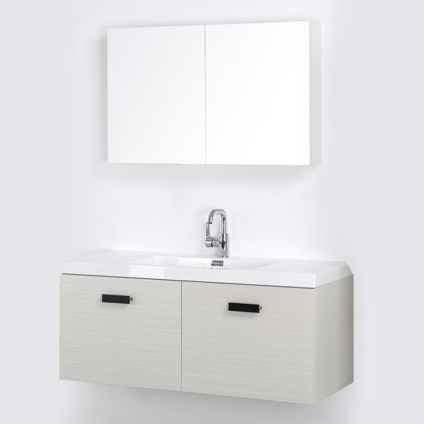 47 Wall-Mounted Single Bathroom Vanity Set with Mirror