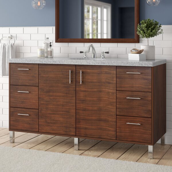 Cordie 60 Single American Walnut Hardwood Base Bathroom Vanity Set by Orren Ellis