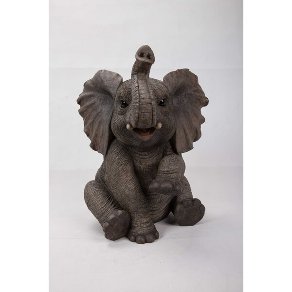 Sitting Elephant Baby with Trunk up Statue by Hi-Line Gift Ltd.
