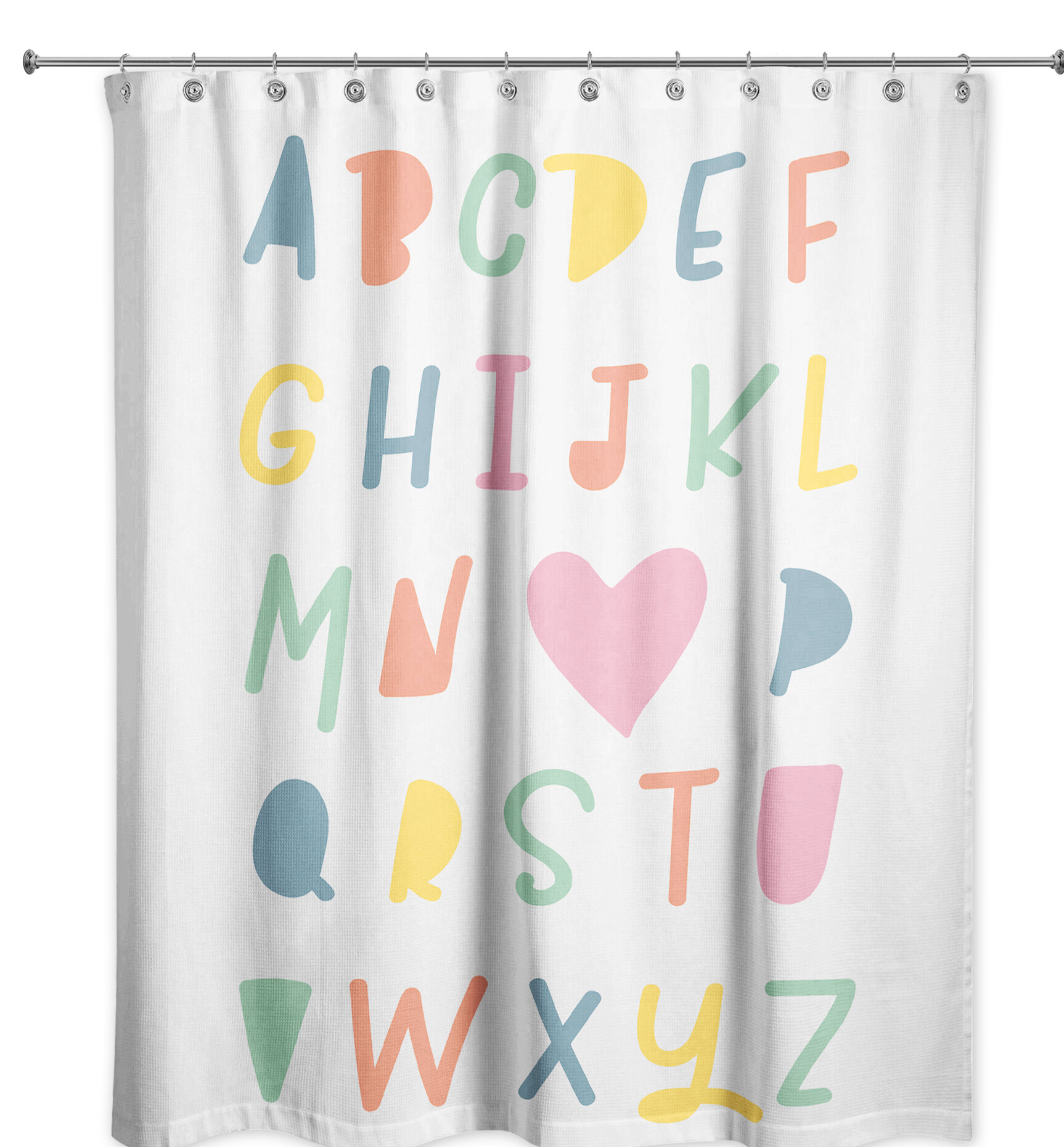 Waterproof Fabric Shower Curtain Set Cartoon Animals Alphabet Letter From A to Z