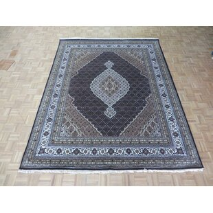 Inexpensive One-of-a-Kind Beaton Persian Tabriz Hand-Knotted Black Area Rug By Isabelline