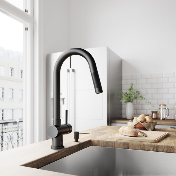 Gramercy Pull-Down Single Handle Kitchen Faucet With Soap Dispenser by VIGO