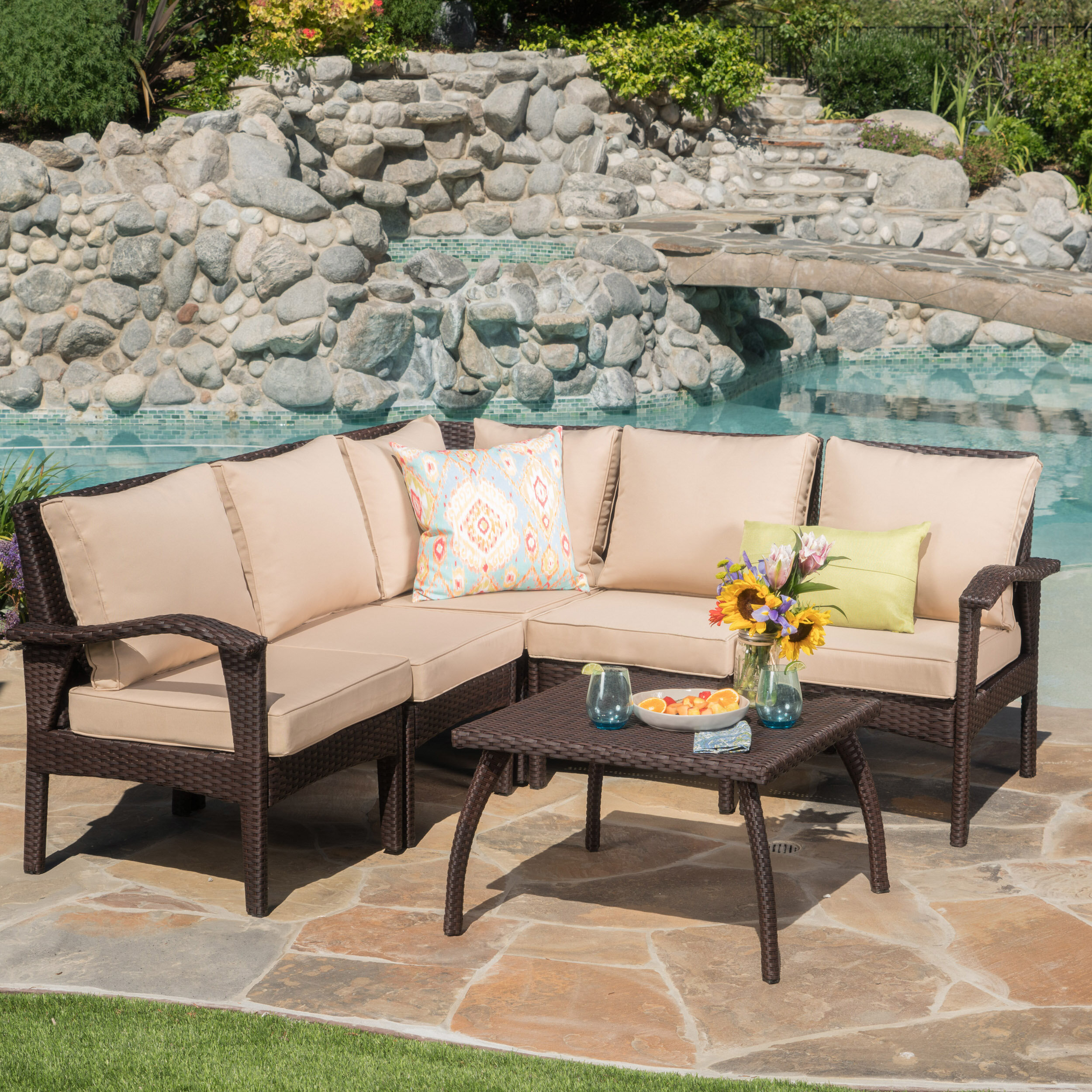 Beachcrest Home Townsend 6 Piece Sectional Set With Cushions U0026 Reviews |  Wayfair