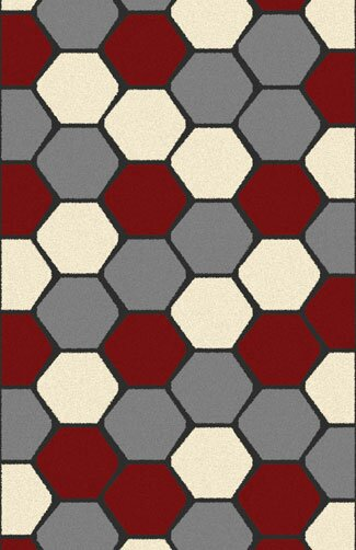 Borba Modern Red Area Rug by Ebern Designs