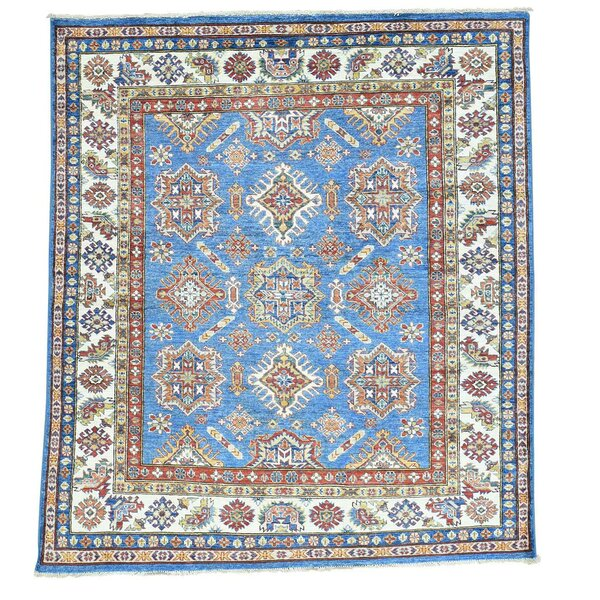 One-of-a-Kind Tillett Super Squarish Hand-Knotted Sky Blue Area Rug by Millwood Pines