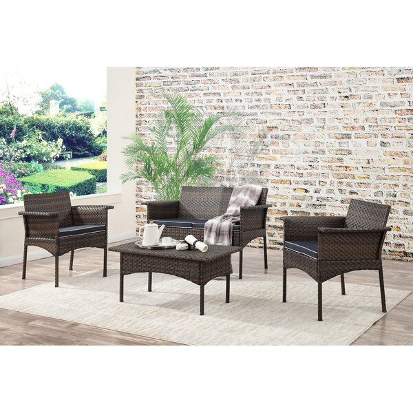 Inge 4 Piece Sofa Set with Cushions by Bayou Breeze