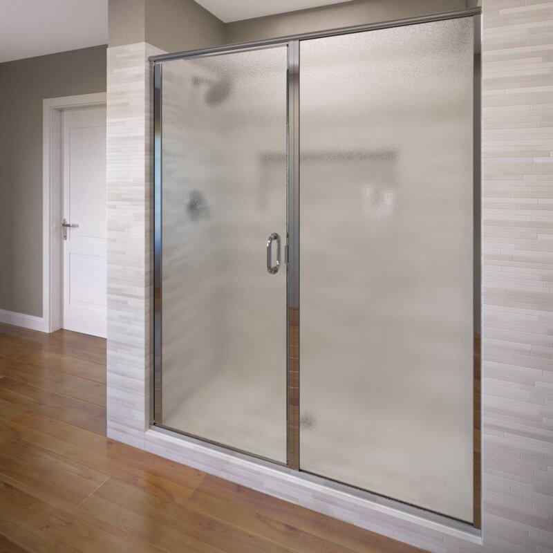 Infinity 46  x 76.13  Pivot Frameless Shower Door & Basco Infinity 46