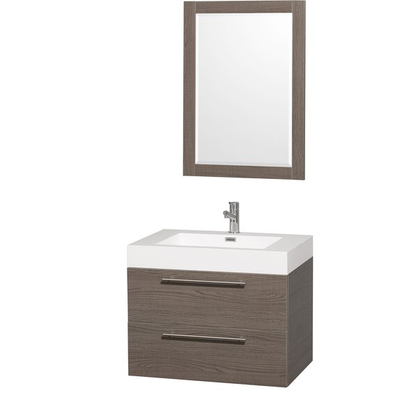 Amare 29 Single Gray Oak Bathroom Vanity Set with Mirror by Wyndham Collection