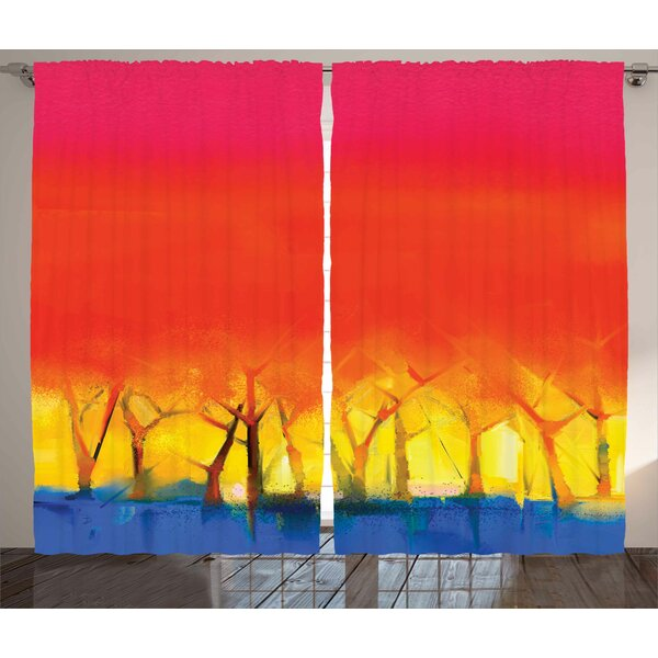 Coutu Fantasy Abstract Colorful Tree Range in Various Tones Watercolor Style Paintbrush Art Graphic Print & Text Semi-Sheer Rod Pocket Curtain Panels (Set of 2) by Latitude Run