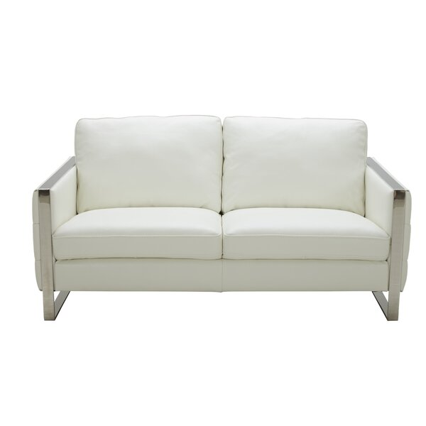 Review Hewins Leather Loveseat