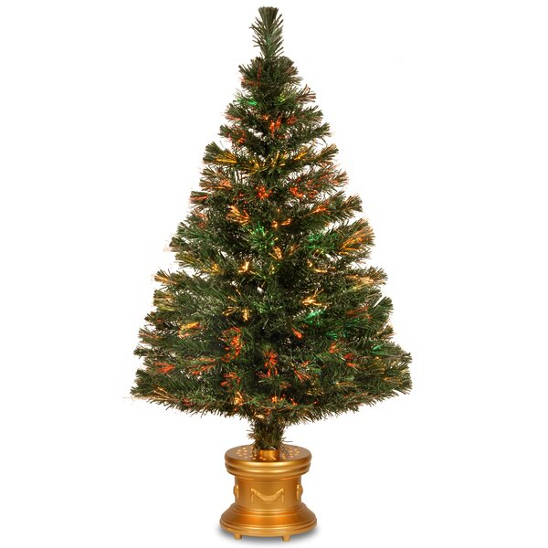 Fiber Optics Evergreen Firework 4 Green Artificial Christmas Tree with Multicolor Lights with Base by The Holiday Aisle