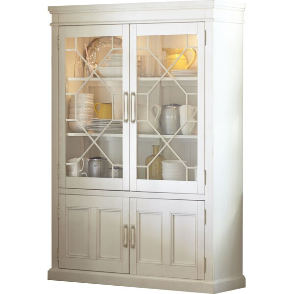 Lisbon Solid Rubberwood Lighted China Cabinet by Birch Lane™ Heritage