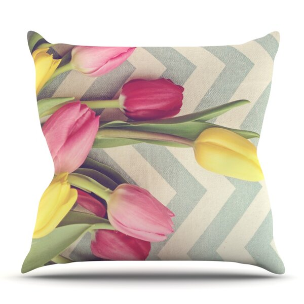 Tulips and Chevrons by Catherine McDonald Outdoor Throw Pillow by East Urban Home