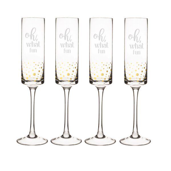 Oh What Fun 8 oz. Champagne Flute (Set of 4) by Cathys Concepts
