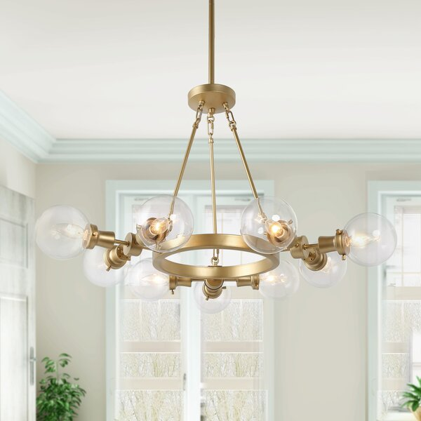 Hutchings 9 - Light Unique / Statement Wagon Wheel Chandelier by Everly Quinn Everly Quinn
