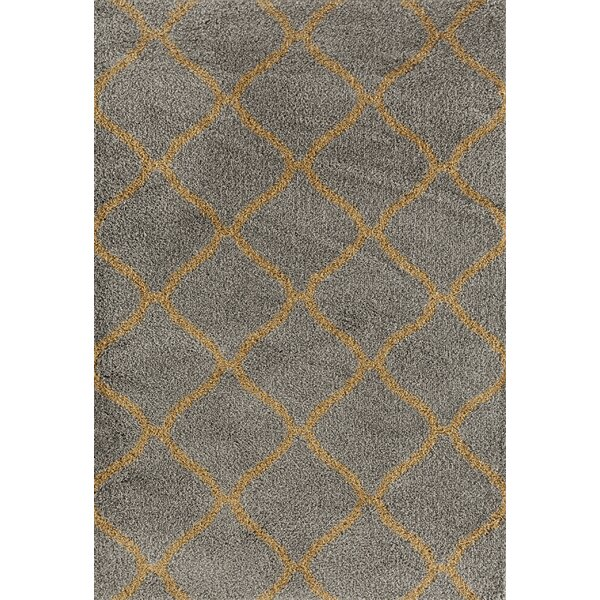 Strothers Shag Gray Area Rug by Charlton Home