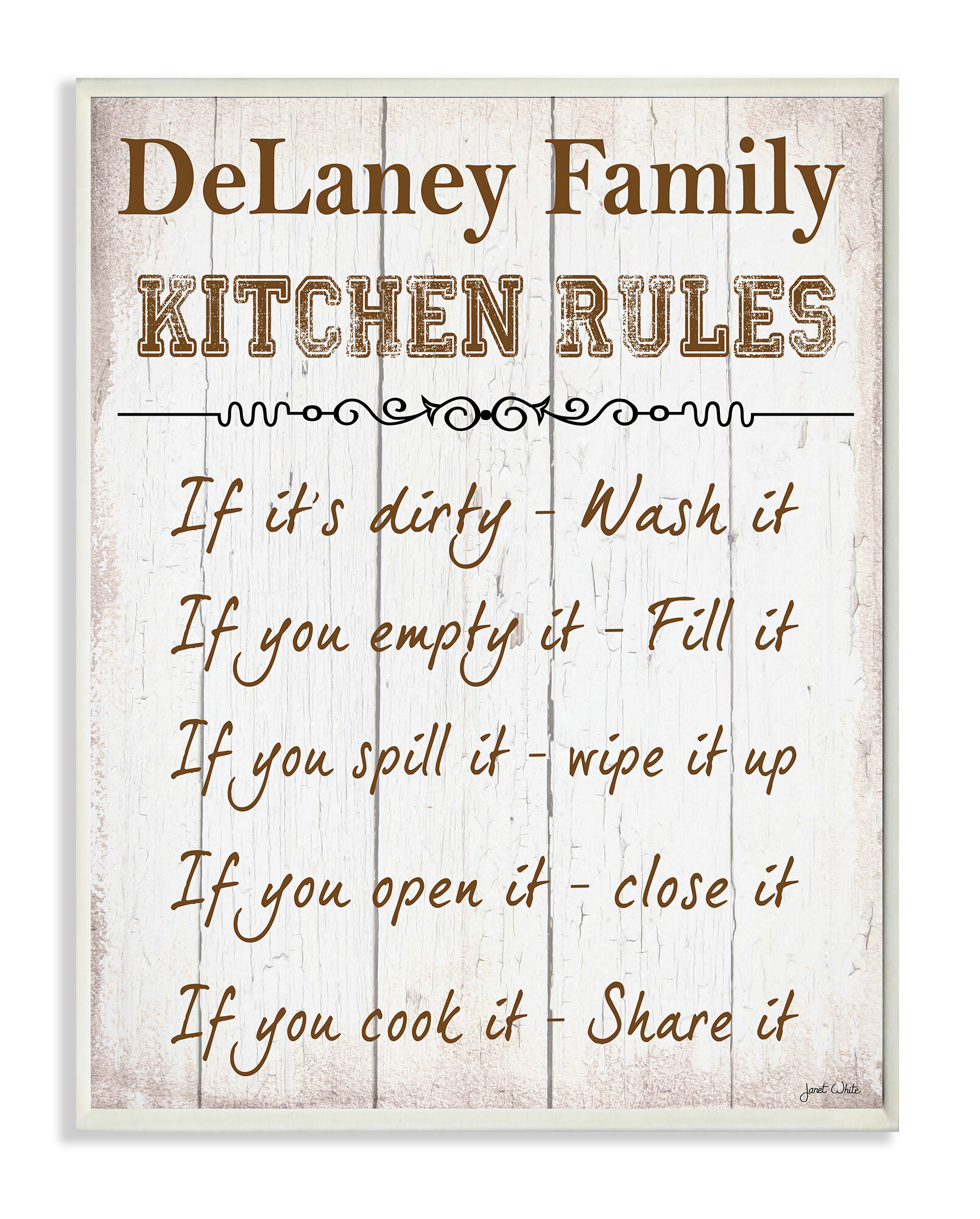 Stupell Industries Personalized Kitchen Rules Textual Art Plaque ...