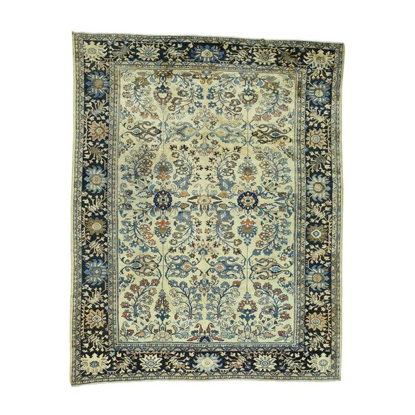 One-of-a-Kind Catskill Hand-Knotted Ivory/Blue 9'4 x 11'10 Wool Area Rug