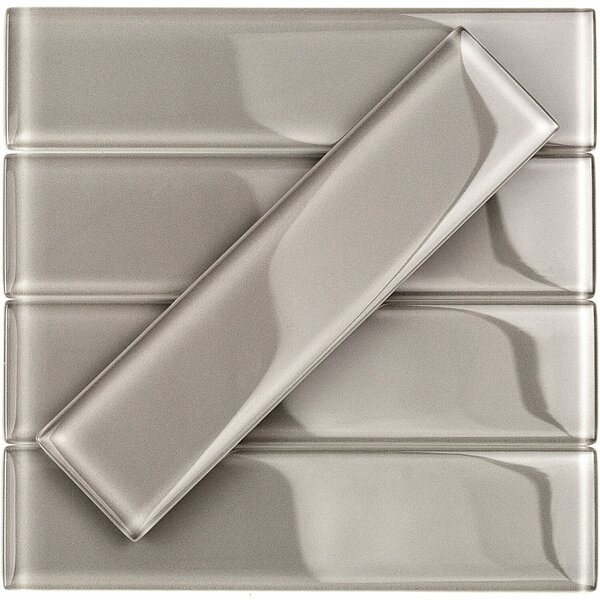 Contempo 2 x 8 Glass Subway Tile in Smoky Taupe by Splashback Tile