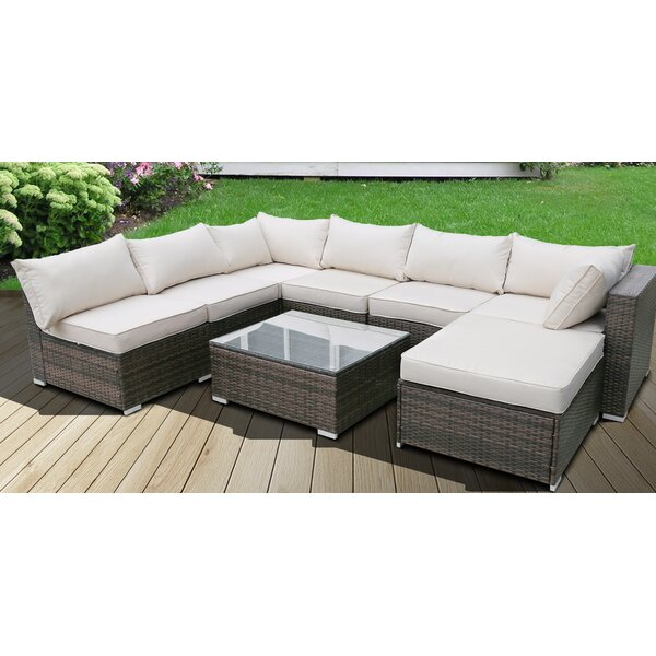 Mullikin Patio 8 Piece Rattan Sectional Seating Group with Cushions