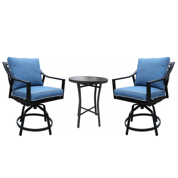 Rolla Outdoor 3 Piece Bar Height Dining Set with Cushions by Canora Grey