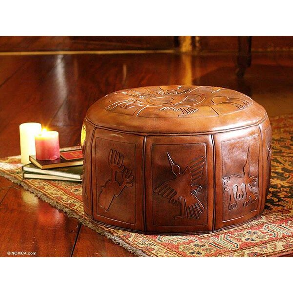 Nazca Legacy Tooled Leather Ottoman Slipcover by World Menagerie