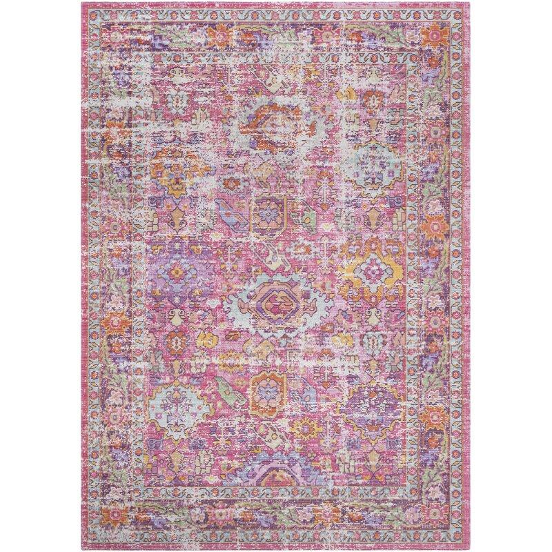 Bungalow Rose Kahina Vintage Distressed Oriental Neutral Pink Area ...