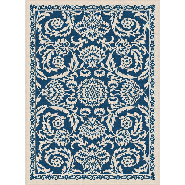 Kamal Navy Blue/Cream Indoor/Outdoor Area Rug by Bungalow Rose
