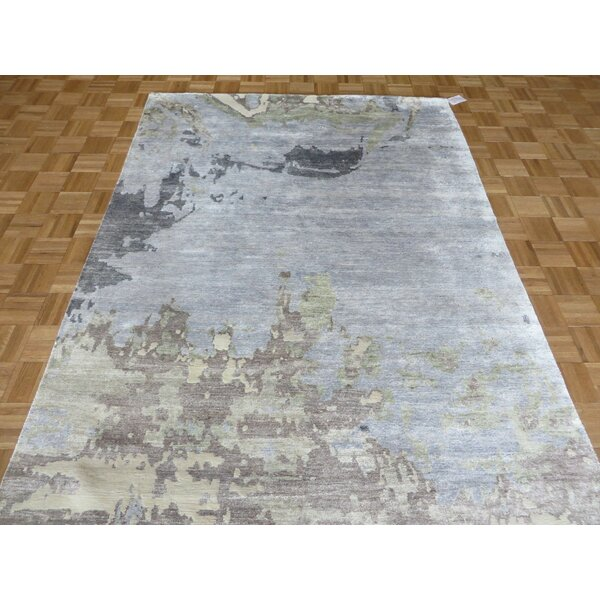 One-of-a-Kind Padang Sidempuan Modern Abstract Hand-Knotted Wool Sky Blue Area Rug by Bloomsbury Market
