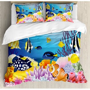Ocean Water Life With Diffe Kind Of Fishes C Reefs And Sponges Kids Nursery Theme Duvet Cover Set