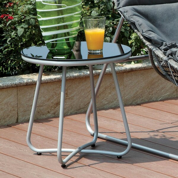 Draco Glass Side Table by Ebern Designs Ebern Designs