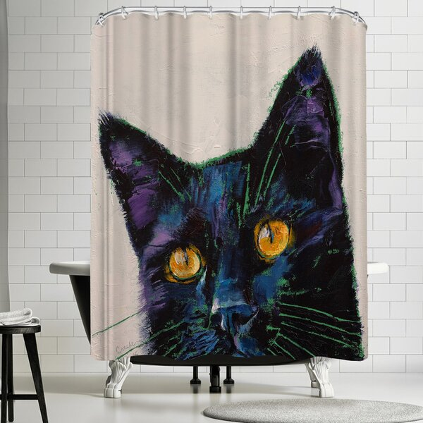 Michael Creese Killer Black Cat Shower Curtain by East Urban Home