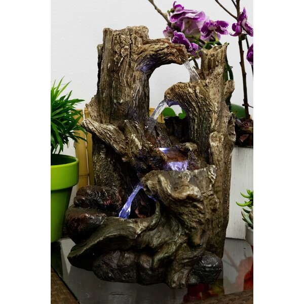 Polystone Tree Trunks Waterfall Fountain with LED Light by Alpine