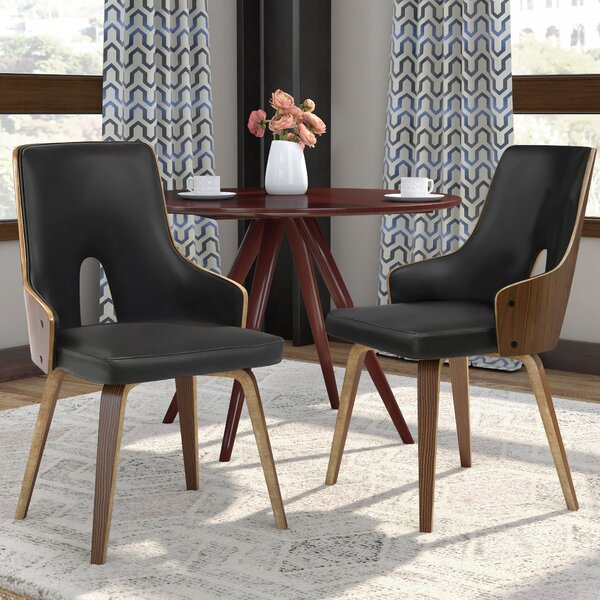 Lewandowski Upholstered Dining Chair in Black (Set of 2) by Mercury Row