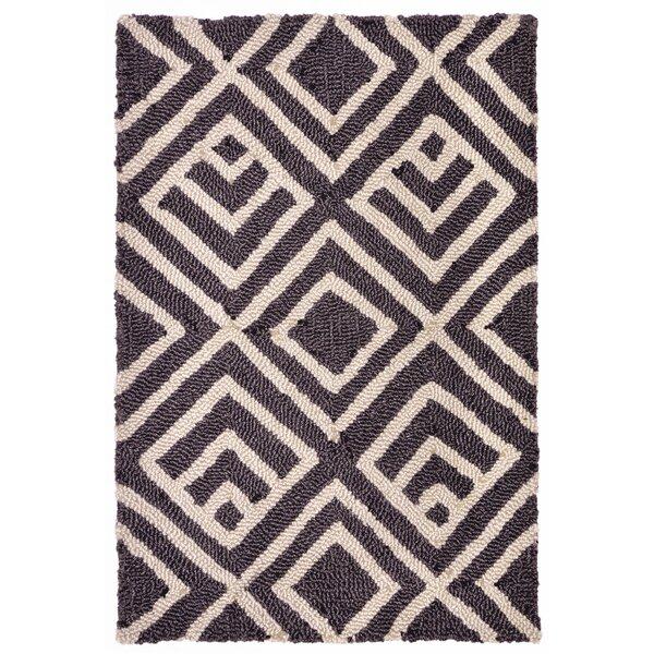 Chamness Hand-Tufted Charcoal/Beige Indoor/Outdoor Area Rug by Wrought Studio