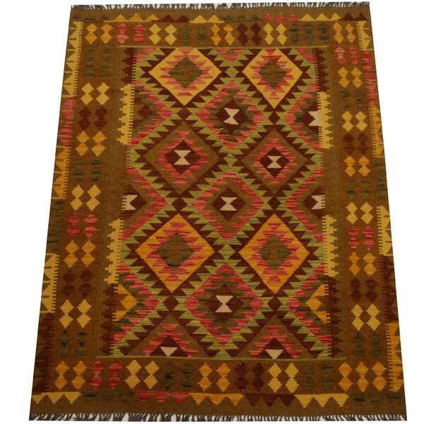 Kilim Hand-Woven Light Green/Olive Area Rug by Herat Oriental