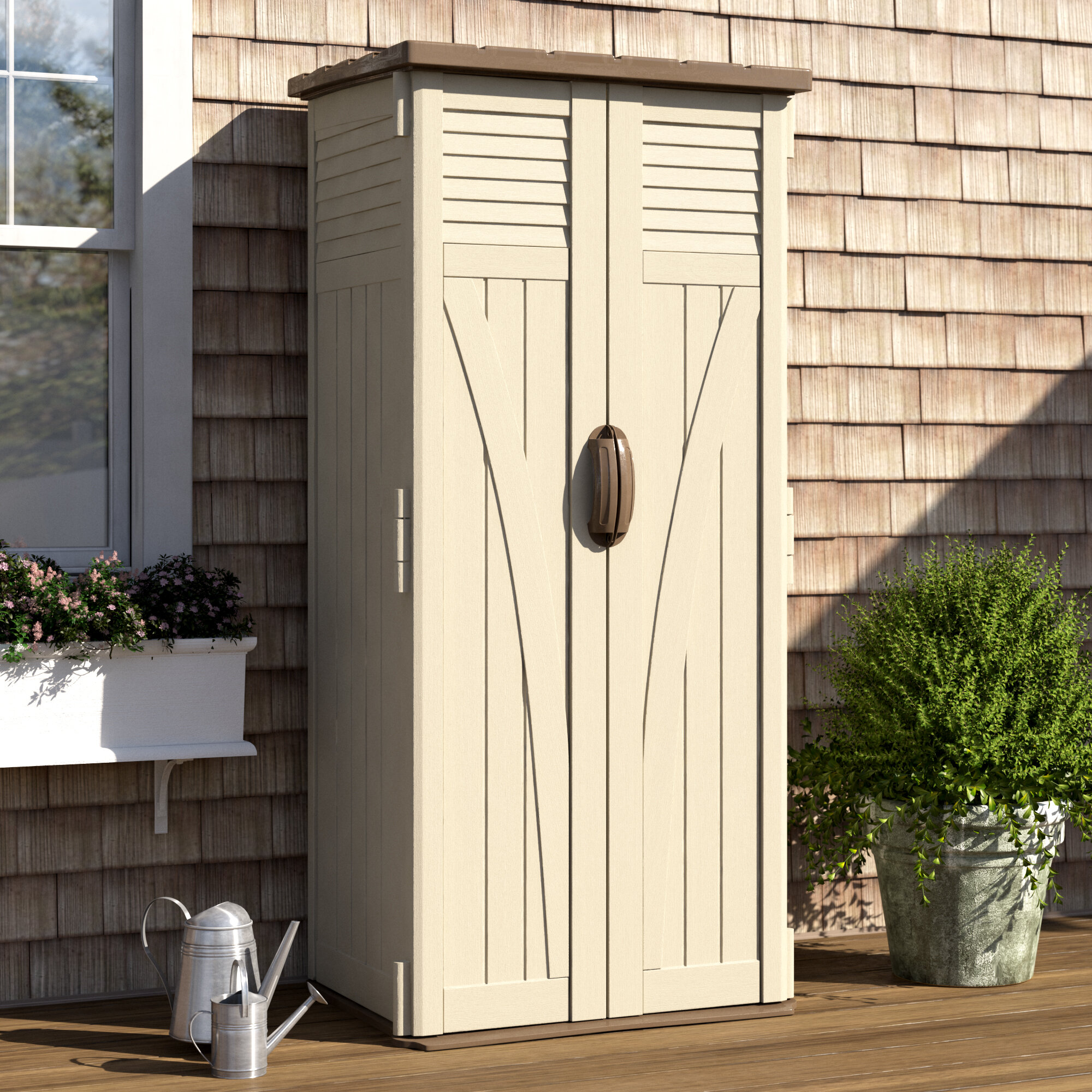 Suncast Outdoor 2 Ft 9 In W X 2 Ft D Plastic Vertical Tool Shed Reviews Wayfair