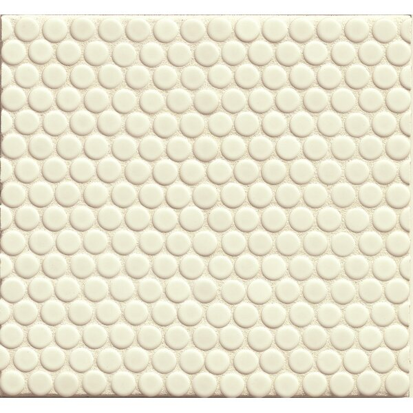 Penny Round Mosaic 12 x 12 Porcelain Tile in White Matte by Grayson Martin