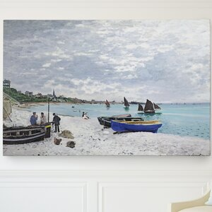 'The Beach' by Claude Monet Painting Print on Wrapped Canvas by Wexford Home