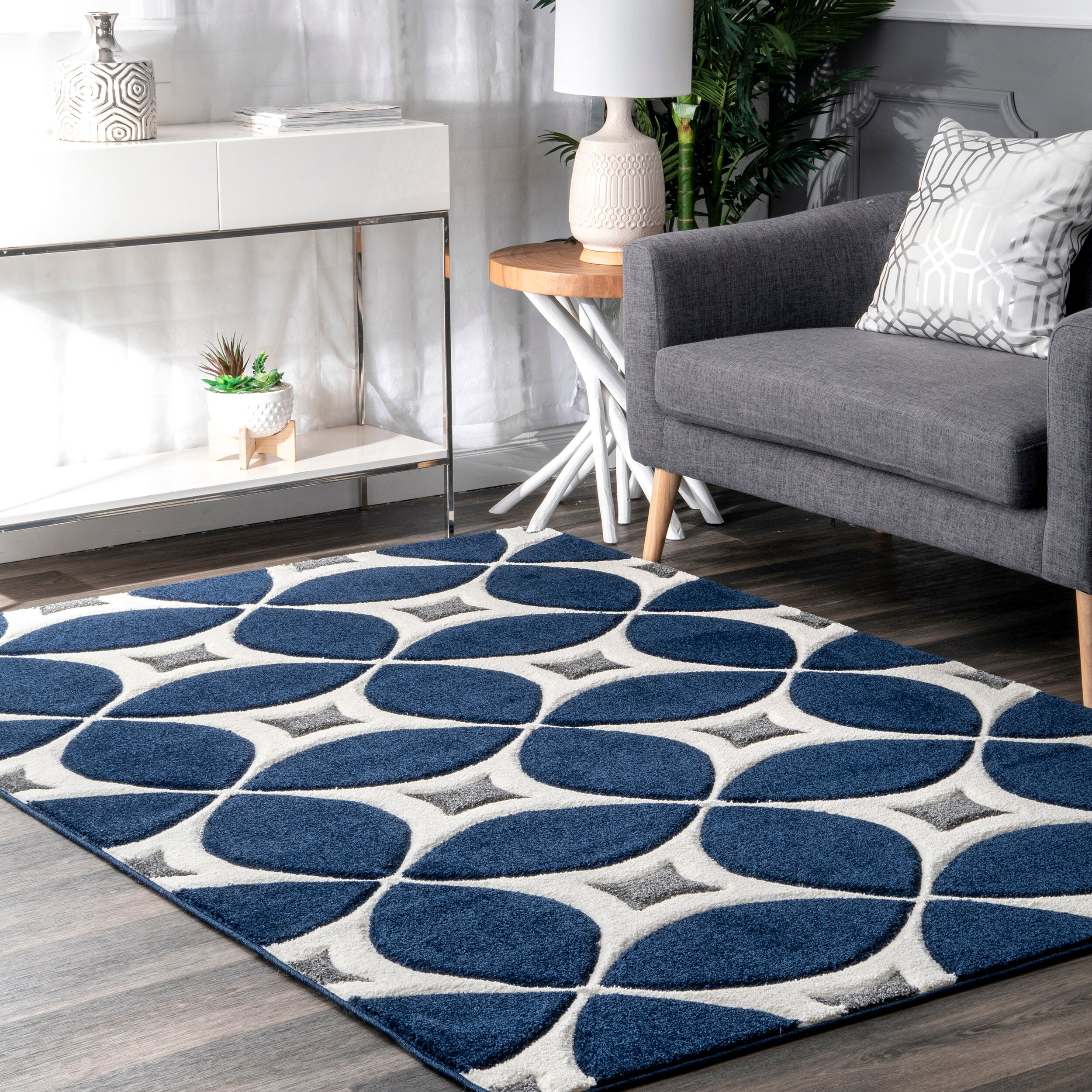 Jamar Hand Tufted Navy Blue White Gray Area Rug