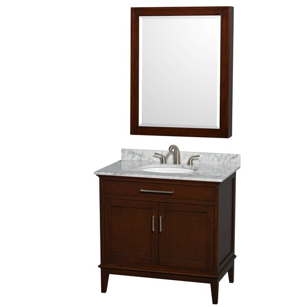 Hatton 36 Single Dark Chestnut Bathroom Vanity Set with Medicine Cabinet by Wyndham Collection