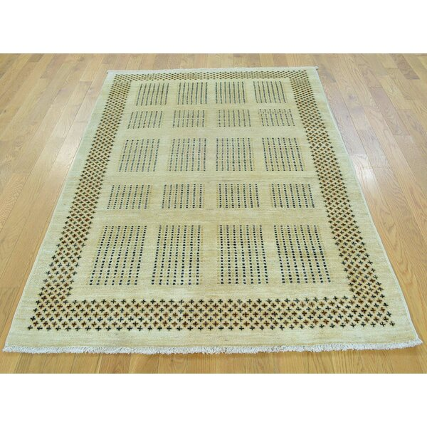 One-of-a-Kind Becker Natural Dyes Hand-Knotted Beige Wool Area Rug by Isabelline