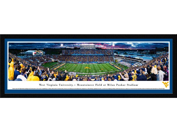 NCAA West Virginia Football 50 Yard Line Framed Photographic Print by Blakeway Worldwide Panoramas, Inc