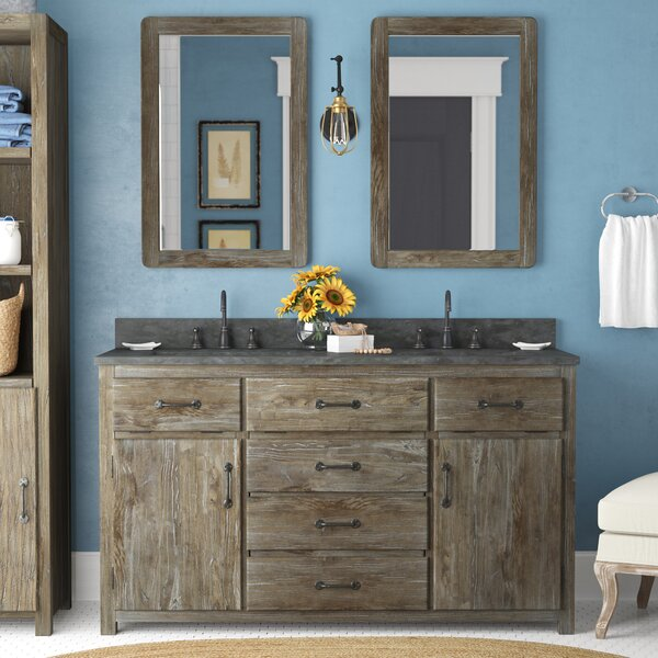 Warm Springs Solid Elm 60 Double Bathroom Vanity Set with Mirror by Laurel Foundry Modern Farmhouse