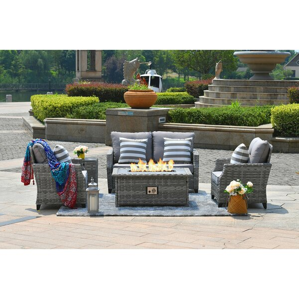 Direct 6 Piece Rattan Sofa Seating Group with Cushions by Latitude Run